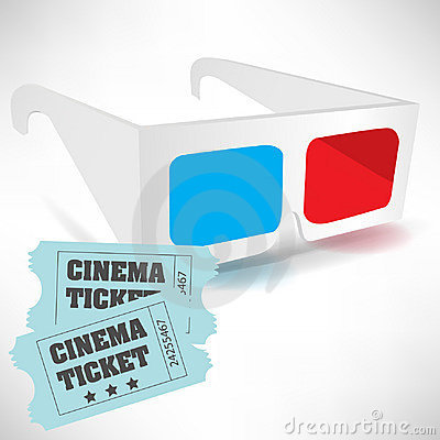 Cinema tickets and three dimensional glasses