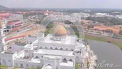 Kuantan, Pahang / Malaysia - August 28 2018 : Aerial View Mosque at IIUM International Islamic University Malaysia. Cinematic Aerial Mosque View at IIUM