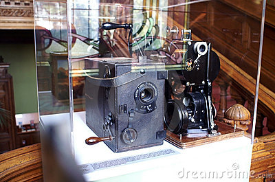 Cinematographe apparatus in the Lumiere Museum Editorial Photo