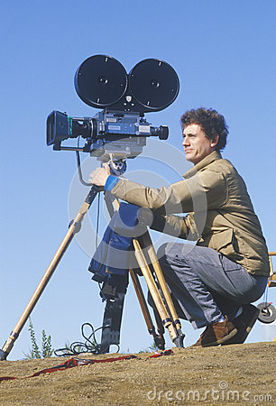 Cinematographer setting up his camera Editorial Photography