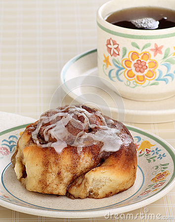 Cinnamon Roll and cup of Coffee