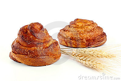 Cinnamon rolls with ear of wheat
