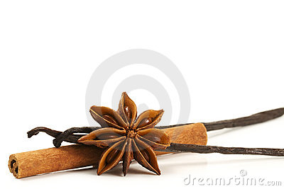 Cinnamon stick, star anise and two vanilla beans