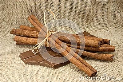 Cinnamon sticks and chocolate