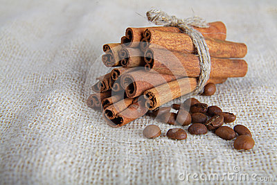 Cinnamon sticks and coffee beans on cotton canvas