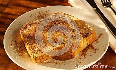 Cinnamon sugar toast in golden light