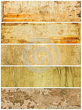 Cinq panneaux grunges texturisés