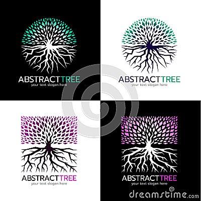 Free Circle Abstract Tree Logo And Square Abstract Tree Logo Vector Art Design Royalty Free Stock Image - 81078636