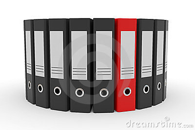 Circle of black office folders and one red.