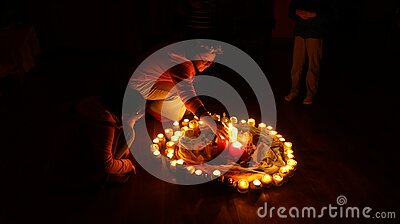 Circle Of Burning Candles Free Public Domain Cc0 Image