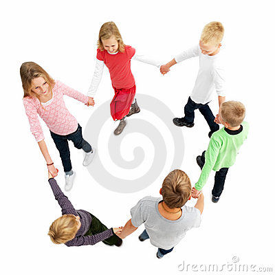 Circle of children walking a ring around a rosy.