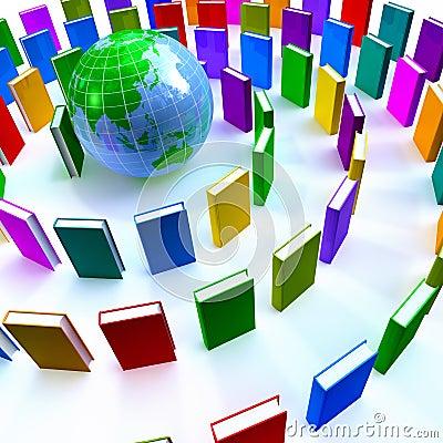Circle of colorful books around a globe