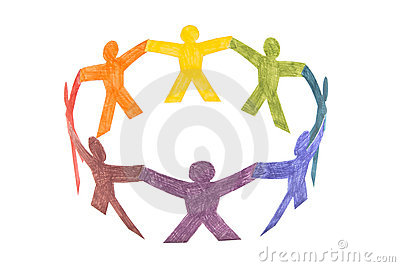 Circle of colourful people
