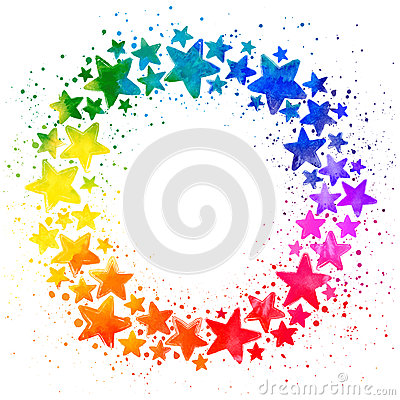 Circle composition with hand drawn watercolor colorful stars Vector Illustration