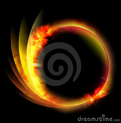 Circle Fire Ball on Black Background