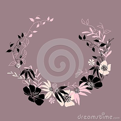 Circle floral frame with leaves and flowers. Vector frame, template for design Vector Illustration