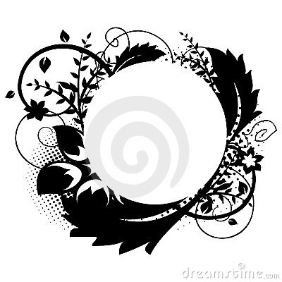 Circle frame with floral decorations 1