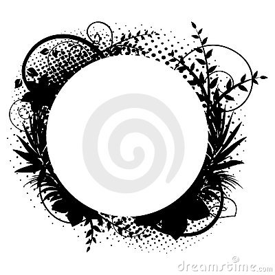 Circle frame with floral decorations 2