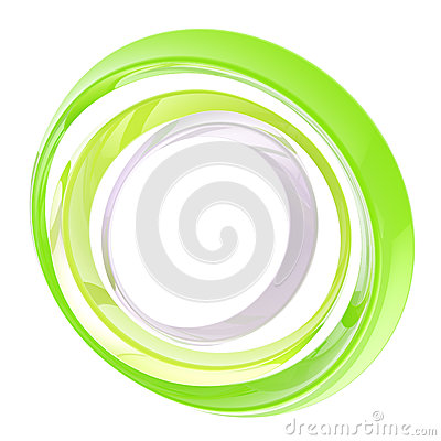 Circle frame made of green rings isolated