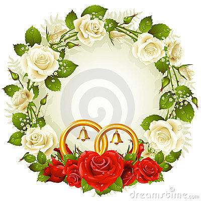 Circle frame with white and red rose and golden we