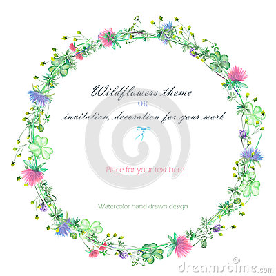 Free Circle Frame, Wreath Of The Yellow Wildflowers, Clover Flowers And Grass Royalty Free Stock Photos - 72706518