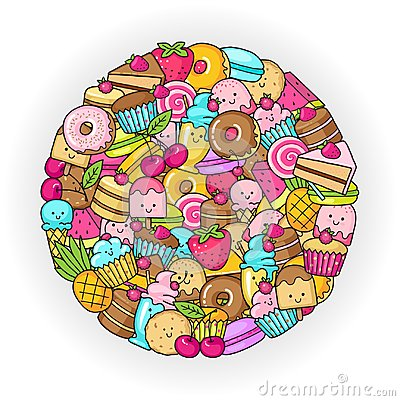 Free Circle From The Funny Sweets, Fruit And Ice Cream. Donuts, Cupcakes, Cakes And Cookies Stock Photos - 96979583