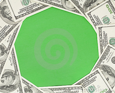 Circle green background framed with money