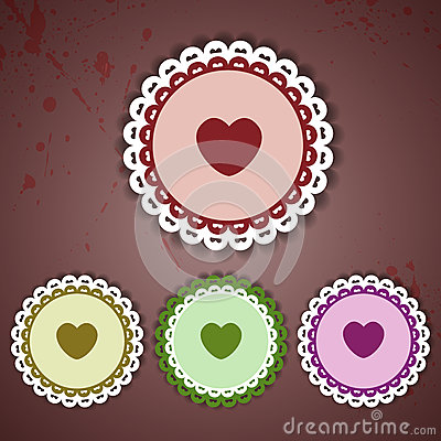 Circle and heart lace - vector