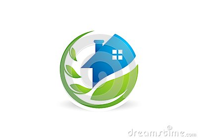 home, house, real estate, logo, circle building, architecture, home plant nature symbol icon design vector Vector Illustration