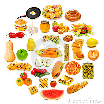 Circle with lots of food