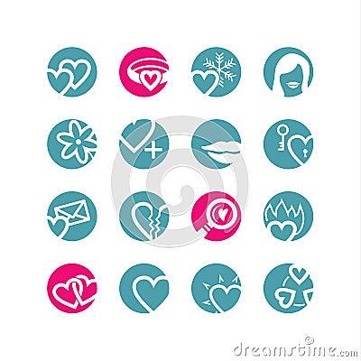 Circle love icons