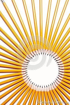 Circle made of pencils