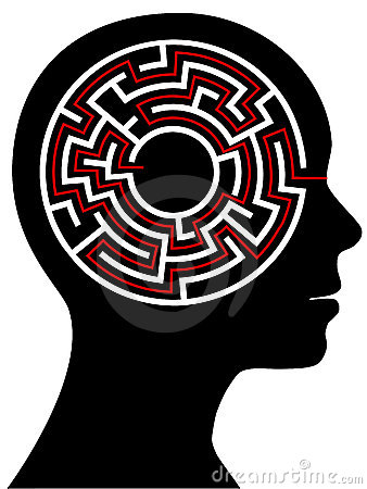Circle Maze Puzzle as a Brain in a Person Head