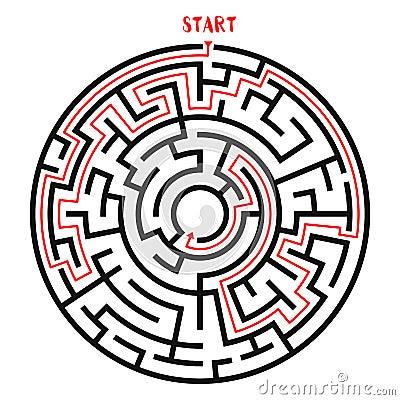 Circle Maze Vector Vector Illustration
