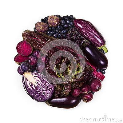 Free Circle Of Purple And Blue Fruits And Vegetables Stock Images - 70603824
