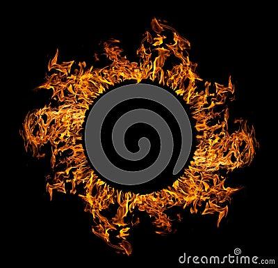 Circle of orange flame isolated on black