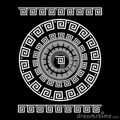 Free Circle Ornament Meander. Round Frame, Rosette Of Ancient Elements. Greek National Antique Round Pattern, Vector. Rectangular Pulse Royalty Free Stock Photo - 76994905