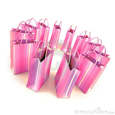 Circle of pale pink shopping bags