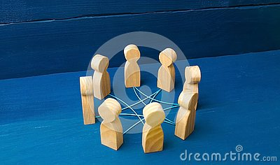 Circle of people interconnected by curves lines. cooperation, teamwork, training. Staff, community meeting. Collaboration Stock Photo