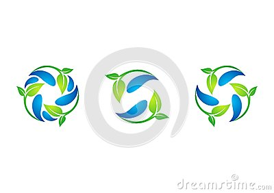 Circle,plant,waterdrop,logo,leaf,spring,recycling,nature,set of round symbol icon design vector Vector Illustration