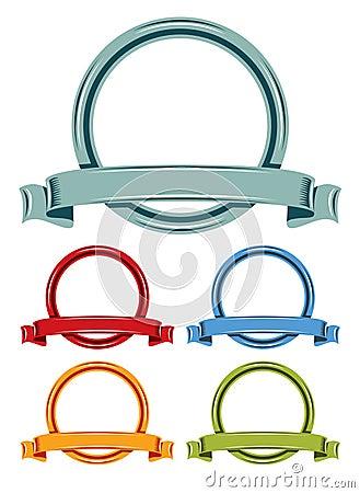 Circle and ribbons cartoon emblem