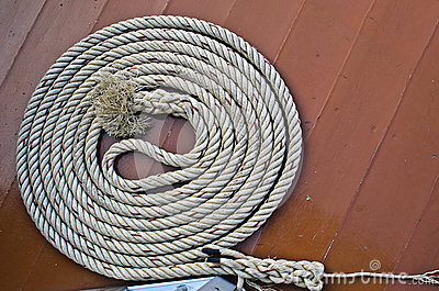 Circle rope on the wood floor.