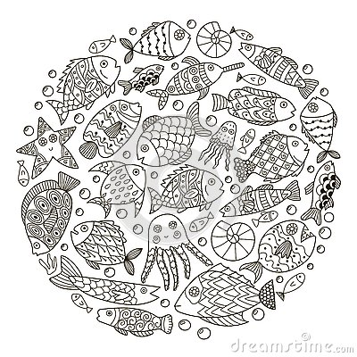 Circle Shape Pattern With Fantasy Fish For Coloring Book Stock ...