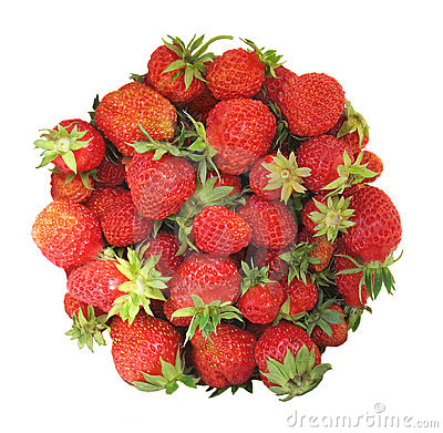 Circle-shaped strawberries isolated on white