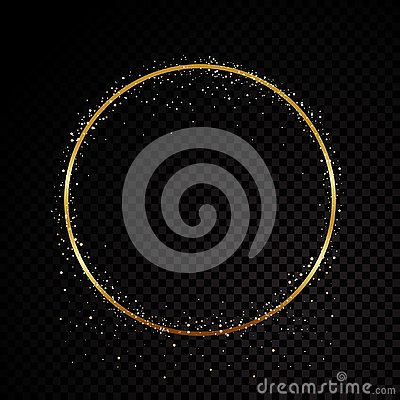Free Circle Sparkle Golden Frame. Isolated On Black Transparent Background. Vector Illustration Royalty Free Stock Photos - 130805428