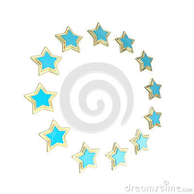 Circle star frame emblem isolated