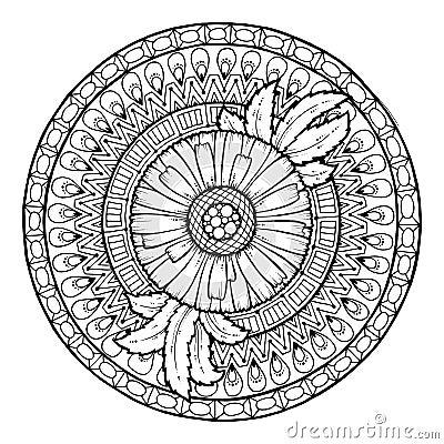 Free Circle Summer Doodle Floral Mandala. Stock Images - 62830394
