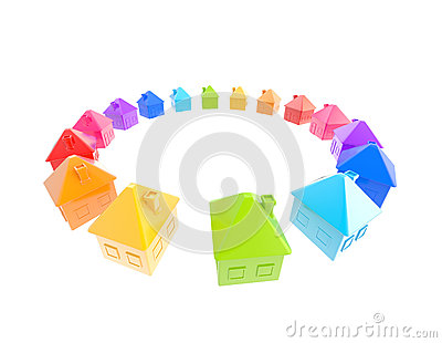 Circle of symbolic house shaped figures