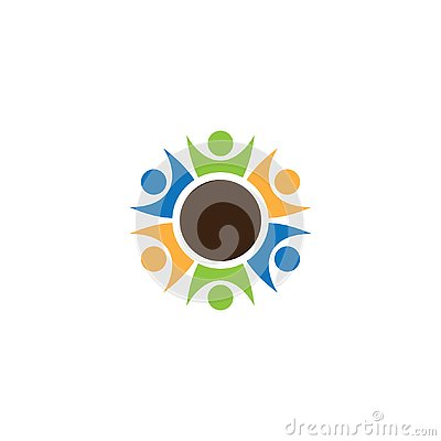 Circle teamwork people logo Design Vector Illustration