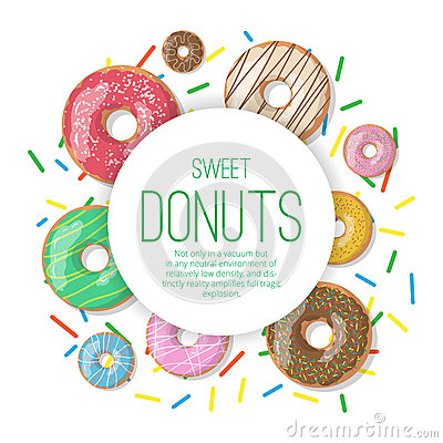 Free Circle Vector Banner With Donuts Illustration Isolated On The White Background. Doughnut Banner In Cartoon Style Royalty Free Stock Photography - 69814747